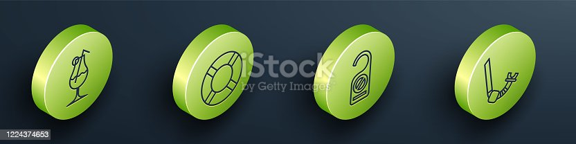 istock Set Isometric Cocktail and alcohol drink, Lifebuoy, Please do not disturb and Snorkel icon. Vector 1224374653