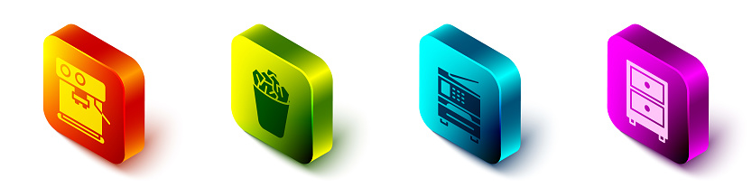 Set Isometric Coffee machine, Full trash can, Printer and Drawer with documents icon. Vector