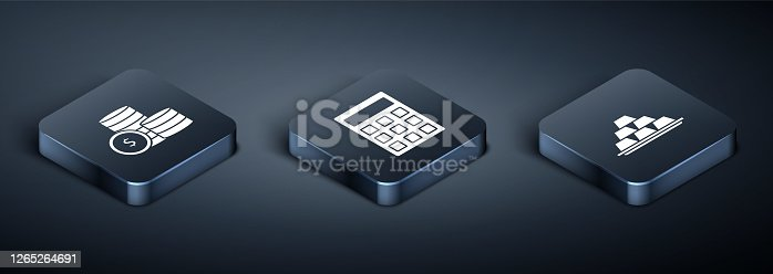 Set Isometric Coin money with dollar symbol, Gold bars and Calculator icon. Vector