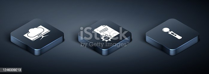 Set Isometric Computer monitor screen, Gamepad and File document icon. Vector