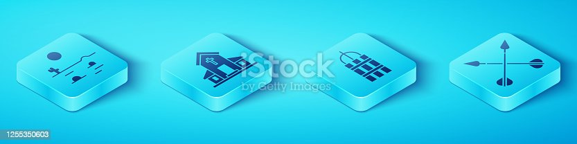 Set Isometric Desert landscape with cactus, Church building, Crossed arrows and Detonate dynamite bomb stick icon. Vector