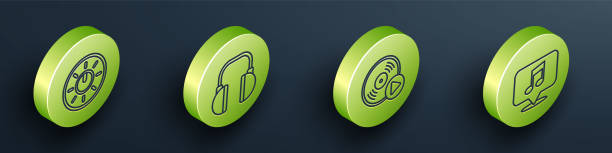 Set Isometric Dial knob level technology settings, Headphones, Vinyl disk and Musical note in speech bubble icon. Vector Set Isometric Dial knob level technology settings, Headphones, Vinyl disk and Musical note in speech bubble icon. Vector switchboard operator vintage stock illustrations