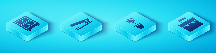 Set Isometric Drawer with documents, Office stapler, Briefcase and Flower in pot icon. Vector