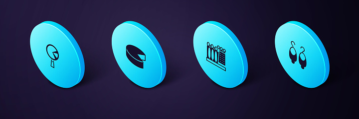Set Isometric Earrings, Dali museum, Cheese and Omelette frying pan icon. Vector