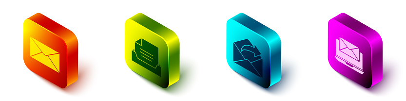 Set Isometric Envelope, Drawer with document, Outgoing mail and Laptop with envelope icon. Vector