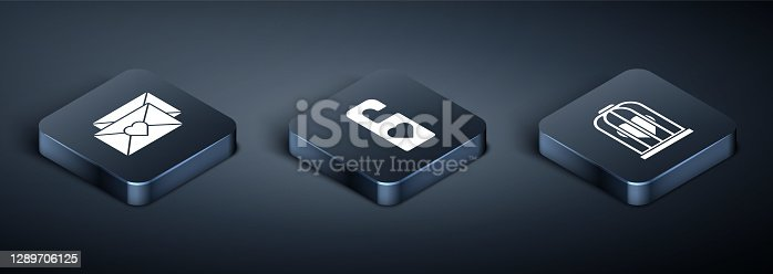 istock Set Isometric Envelope with Valentine heart, Heart in the bird cage and Please do not disturb with heart icon. Vector 1289706125