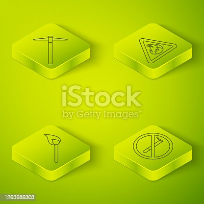Set Isometric Fire flame in triangle, Burning match with fire, No Smoking and Pickaxe icon. Vector