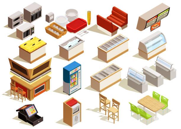 ilustrações de stock, clip art, desenhos animados e ícones de set isometric food court interior elements - kitchen counter