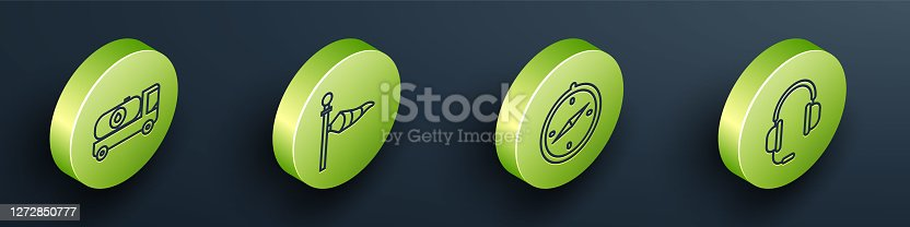 Set Isometric Fuel tanker truck, Cone meteorology windsock wind vane, Compass and Headphones with microphone icon. Vector