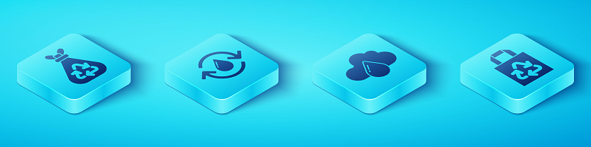 Set Isometric Garbage bag with recycle, Recycle clean aqua, Paper bag with recycle and Cloud with rain icon. Vector