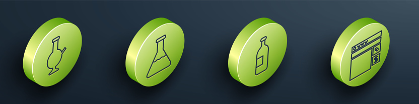 Set Isometric Glass bong for smoking marijuana, Test tube and flask, Alcohol drink bottle and Buying drugs online icon. Vector