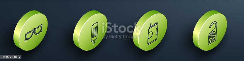 istock Set Isometric Glasses, Ice cream, Soda can and Please do not disturb icon. Vector 1257761617