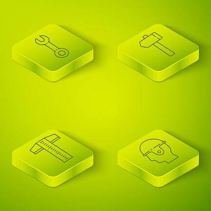 Set Isometric Hammer, T-square line, Worker safety helmet and Wrench spanner icon. Vector