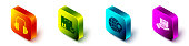 Set Isometric Headphones, Package box with check mark, Location on the globe and Delivery hand with boxes icon. Vector
