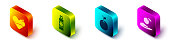 Set Isometric Heart heal, Cream or lotion cosmetic tube, Apple and Apple in hand icon. Vector