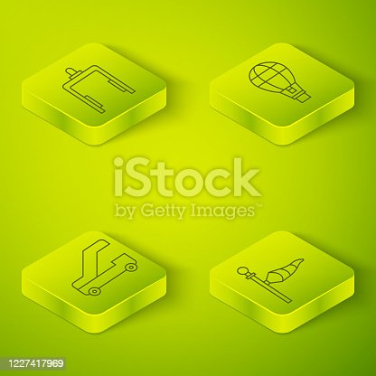 Set Isometric Hot air balloon, Passenger ladder for plane boarding, Cone meteorology windsock wind vane and Metal detector in airport icon. Vector