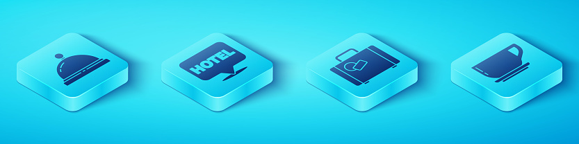 Set Isometric Hotel service bell, Location hotel, Coffee cup and Suitcase icon. Vector