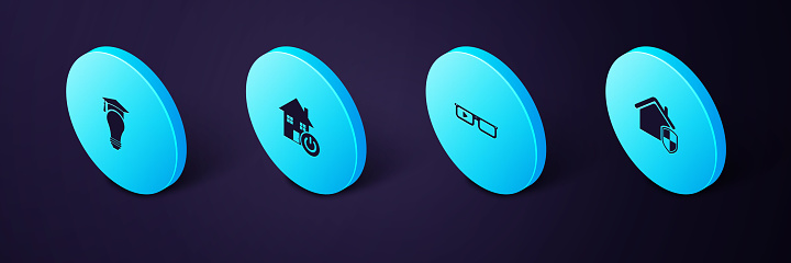 Set Isometric House under protection, Smart glasses, home and Light bulb and graduation cap icon. Vector