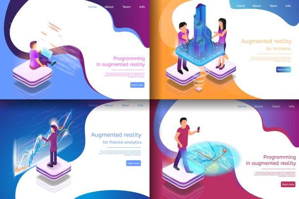 bildbanksillustrationer, clip art samt tecknat material och ikoner med ange isometrisk illustration virtuell underhållning - man architect computer