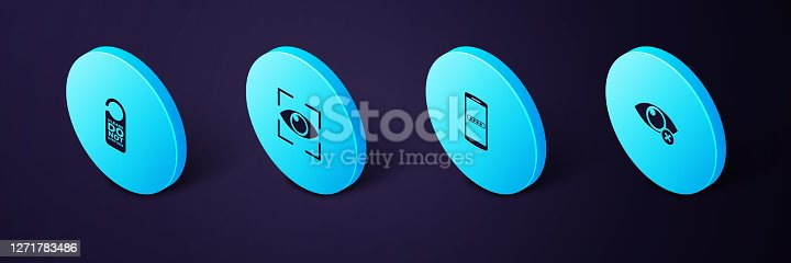 istock Set Isometric Invisible or hide, Mobile and password, Eye scan and Please do not disturb icon. Vector 1271783486