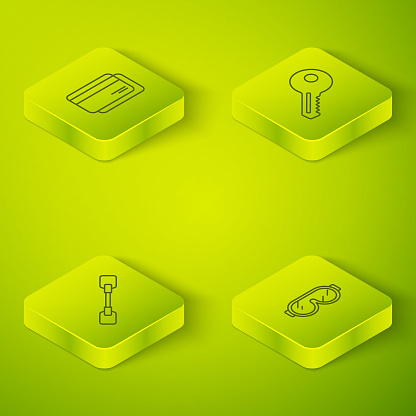 Set Isometric Key, Paddle, Ski goggles and Credit card icon. Vector