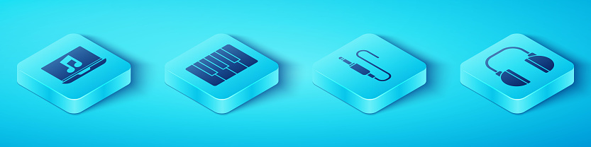 Set Isometric Laptop with music note, Music synthesizer, Headphones and Audio jack icon. Vector