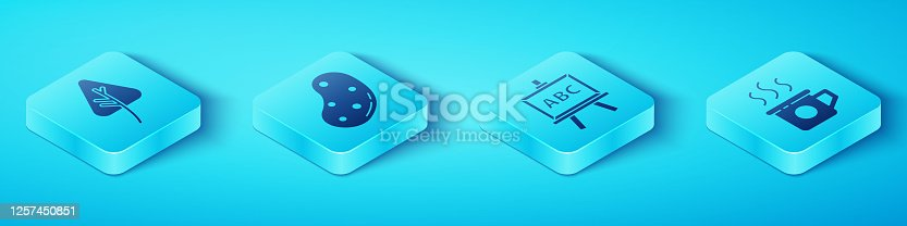 Set Isometric Leaf or leaves, Potato, Cup of tea and Chalkboard icon. Vector