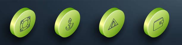 Set Isometric Lifebuoy, Anchor, Tourist tent and Wallet icon. Vector Set Isometric Lifebuoy, Anchor, Tourist tent and Wallet icon. Vector. adventure clipart stock illustrations
