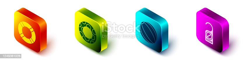 istock Set Isometric Lifebuoy, Rubber swimming ring, Beach ball and Please do not disturb icon. Vector 1249381028