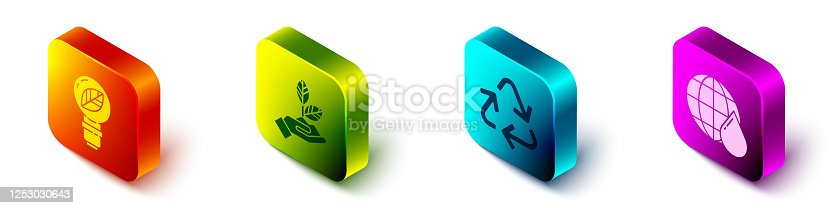 Set Isometric Light bulb with leaf, Plant in hand, Recycle symbol and Earth planet in water drop icon. Vector