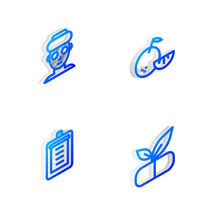 Set Isometric line Citrus fruit, Facial cosmetic mask, Clipboard with checklist and Medical pill plant icon. Vector