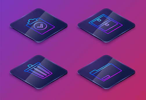 Set Isometric line Completed task, Trash can, Archive papers drawer and Document folder. Blue square button. Vector