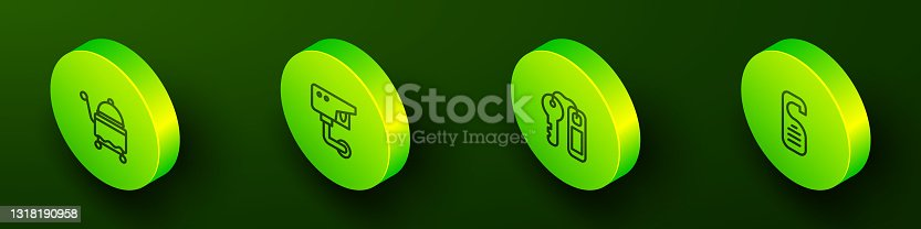 istock Set Isometric line Covered with tray, Security camera, Hotel door lock key and Please not disturb icon. Vector 1318190958