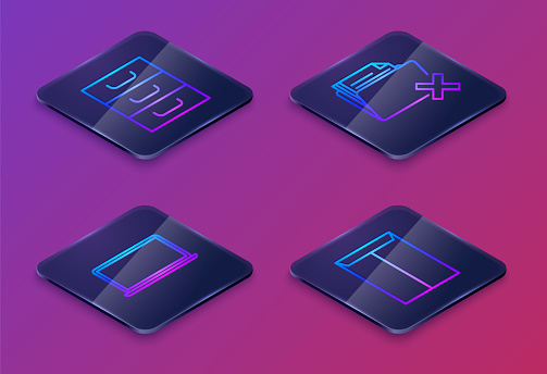 Set Isometric line Drawer with documents, Laptop, Delete folder and Envelope. Blue square button. Vector