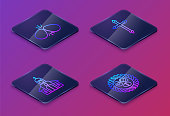 istock Set Isometric line Easter eggs, Church building, Christian cross and Easter egg in a wicker nest. Blue square button. Vector 1308853967