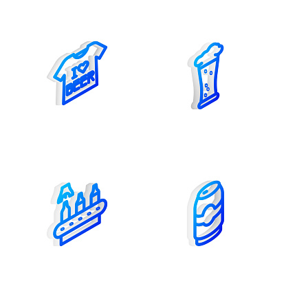 Set Isometric line Glass of beer, Beer T-shirt, Conveyor band, and can icon. Vector