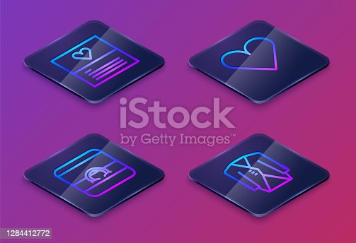 istock Set Isometric line Greeting card, Wedding rings, Heart and Suit. Blue square button. Vector 1284412772