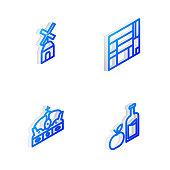 Set Isometric line House Edificio Mirador, Windmill, Crown of spain and Apple cider bottle icon. Vector