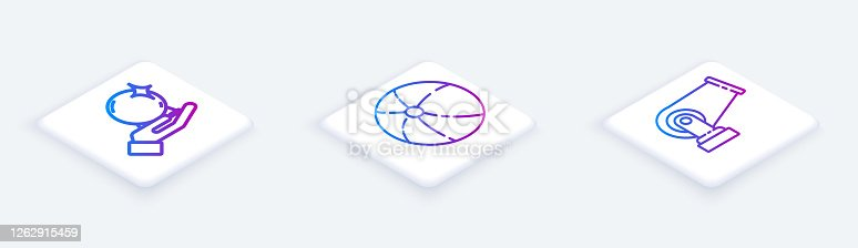 Set Isometric line Magic ball on hand, Beach ball and Cannon. White square button. Vector