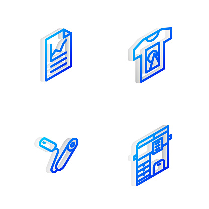 Set Isometric line T-shirt, Document with graph chart, Paint roller brush and Copy machine icon. Vector