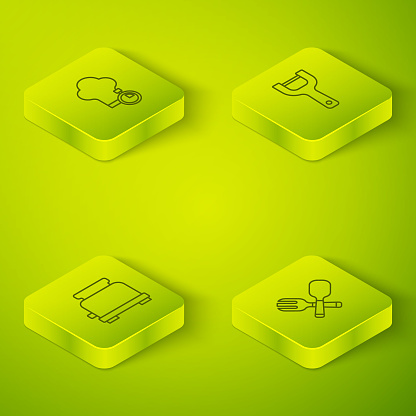 Set Isometric line Vegetable peeler, Toaster, Crossed fork and spoon and Chef hat icon. Vector