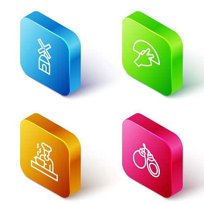 Set Isometric line Windmill, Fan flamenco, Spanish cook and Castanets icon. Vector
