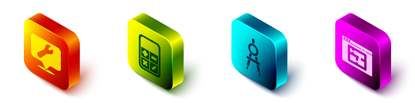 Set Isometric Location with wrench spanner, Calculator, Drawing compass and House plan icon. Vector