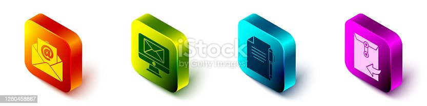 Set Isometric Mail and e-mail, Monitor and envelope, Document and pen and Envelope icon. Vector