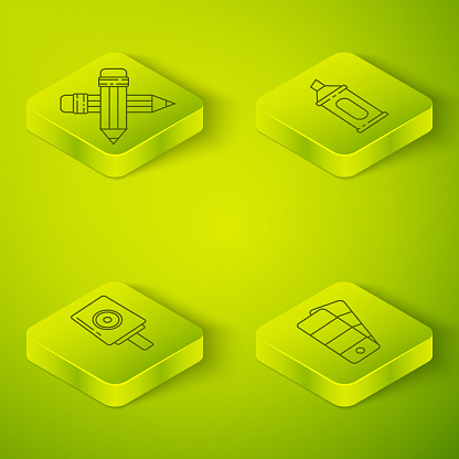 Set Isometric Marker pen, Spray can nozzle cap, Palette and Crossed pencil with eraser icon. Vector