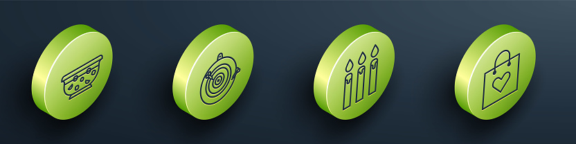 Set Isometric Mixed punch in bowl, Classic dart board and arrow, Birthday cake candles and Shopping bag with heart icon. Vector