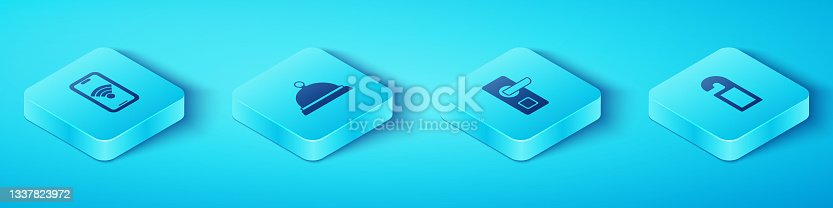 istock Set Isometric Mobile with wi-fi wireless, Covered tray of food, Please do not disturb and Digital door lock icon. Vector 1337823972