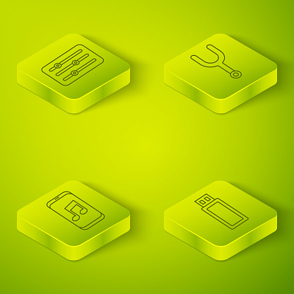 Set Isometric Musical tuning fork, Music player, USB flash drive and Sound mixer controller icon. Vector