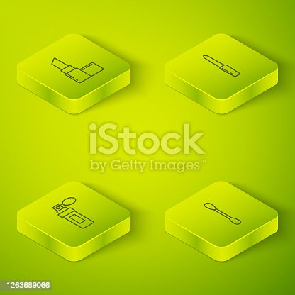 istock Set Isometric Nail file, Perfume, Cotton swab for ears and Lipstick icon. Vector 1263689066