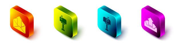 bildbanksillustrationer, clip art samt tecknat material och ikoner med ange isometrisk utgående e-post, e-postlåda, e-postlåda och uppladdningsinkorgsikon. vektor - stock arrow